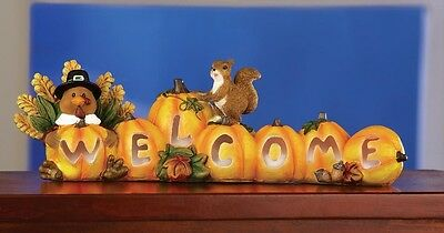 """Exciting Fall PUMPKIN """"WELCOME"""" CENTERPIECE Turkey & Squirrel LED *LIGHTS UP*"""