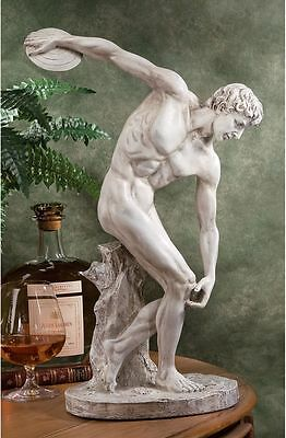 Classic Olympic Greek Discus Thrower Sculpture Perfect Male Form Statue
