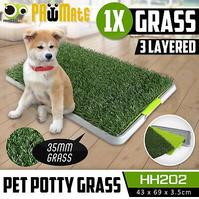 Indoor Dog Pet Potty Training Toilet Portable Loo Clean Pad Tray - 1 Grass Mat