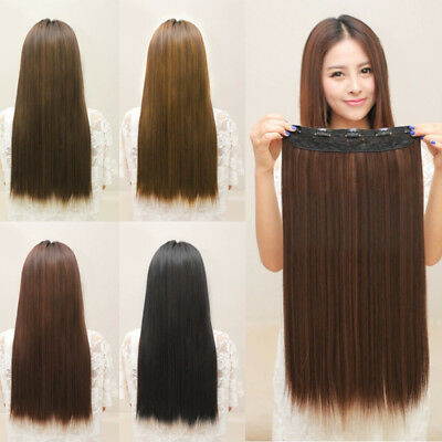 New One Piece Women 5 Clips Clip-in Long Straight Colorful Hair Extensions Hot