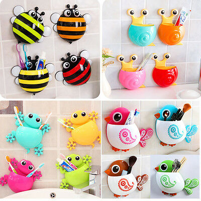 Cartoon Bee Animal Suction Cup Toothbrush Toothpaste Holder Rack Wall Sucker