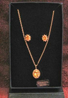 Necklace and Earrings Set, Sterling Silver and Citrine CZ's NEW in Case w/Tag