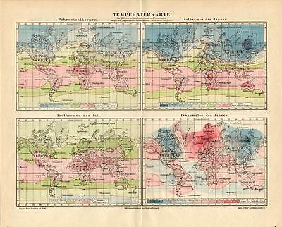 Antique Map-CLIMATE-TEMPERATURE-WORLD MAP-Meyers-1895