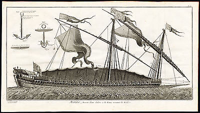 Antique Print-SHIP-GALLEY-FRENCH SAILING VESSEL-REALE-Diderot-Benard-1751