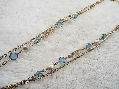 Goldtone White Bead & Blue Faux Bezel Crystal Chain Necklace (D10)