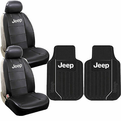 New 6pcs JEEP Elite Style Logo Car Truck Front Seat Covers & Floor Mats Set