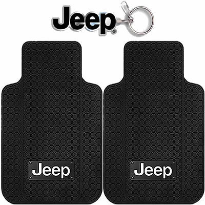New 3pcs Jeep Factory Style Logo Car Truck Front All Weather Rubber Floor Mats