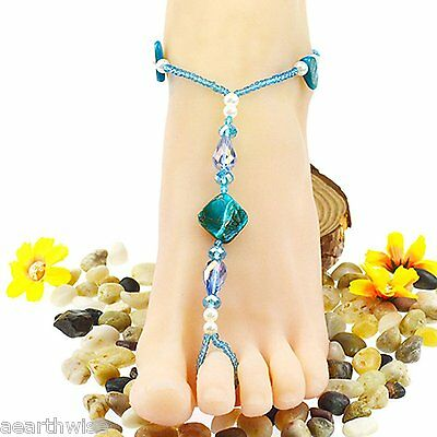 ANKLET: TURQUOISE CRYSTALS & SHELLS Wicca Witch Pagan Belly Dance Goth Hippie