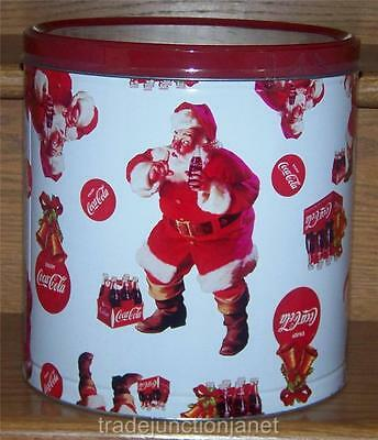 "NOS 2010 USA 9.5"" COCA-COLA SANTA w/BOTTLE POPCORN TIN - SEALED w/CONTENTS"