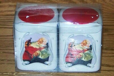 NWT 2006 GIBSON COCA-COLA 75th ANNIV SANTA CERAMIC SALT & PEPPER S&P SHAKERS SET