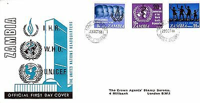 ZAMBIA 1968 UNITED NATIONS Stamps SG142-4 3v First Day Cover REF:490