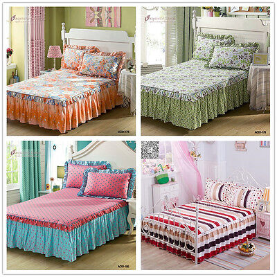 100%Cotton Floral Single Queen King Pleated Valance Bed Skirt Set  Fitted Sheets