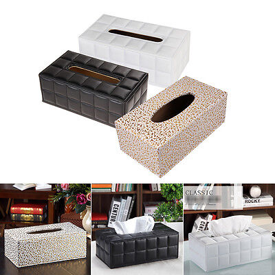 Durable Home Car Rectangle PU Leather Tissue Box Cover Napkin Paper Holder Case