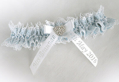 LIGHT IVORY LACE WEDDING BRIDAL PERSONALIZED GARTER VINTAGE STYLE any colour