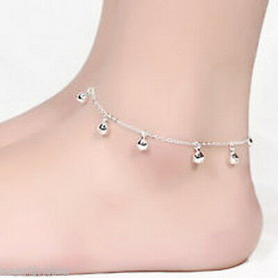 ANKLET: SILVER WITH METAL BALLS Wicca Witch Pagan Belly Dance Goth Hippie