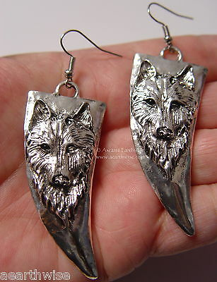 WOLF EARRINGS ON FRENCH HOOKS Wicca Witch Pagan Goth TOTEM