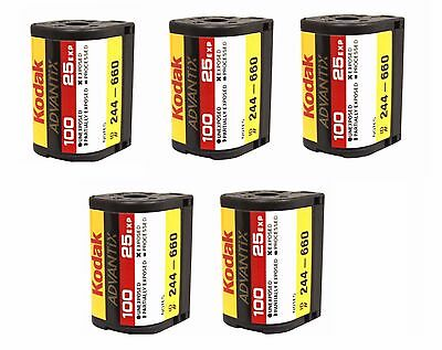 5 Rolls Kodak Advantix Film Aps 100 25 Exp C-41 100 Iso Ix Bulk 100% Guarantee