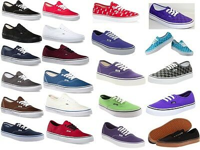 Vans Authentic Canvas Black White Red Navy Blue Purple Gray Skateboarding Shoes