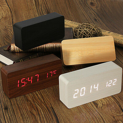 Voice Control Calendar Thermometer Wooden Wood LED Digital Alarm Desk Clock