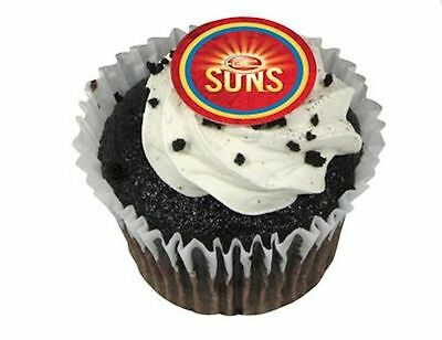 Gold Coast Suns AFL Cupcake Logo Edible Cup Cake Image Toppers