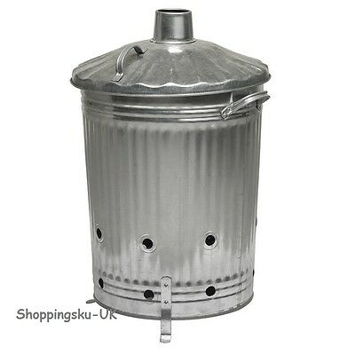 90 Litre Garden INCINERATOR Fire Bin Burner for Rubbish Leaves Paper Top Choice
