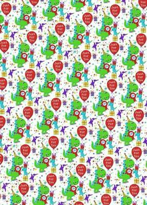 2 Sheets Children's Birthday Party Dinosaur Wrapping Paper & 1 Matching Gift Tag