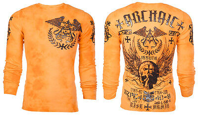 Archaic AFFLICTION Men THERMAL T-Shirt BLACK PLAYER Motorcycle Biker MMA UFC $58