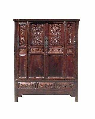 Chinese Antique Solid Wood Hand Carving Armoire Cabinet f852