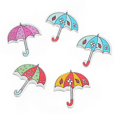 30PCs Cartoon Umbrella Shaped 2 Holes Wooden Buttons Sewing DIY Scrapbooking