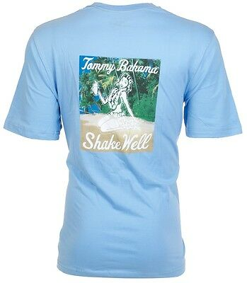 TOMMY BAHAMA Mens T-Shirt SHAKE WELL Hula Girl Drink BLUE Relax Camp XL-3XL $45