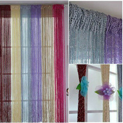Stylish Room/Door Silver Silk String Curtain Living Partition Sheer Curtain New