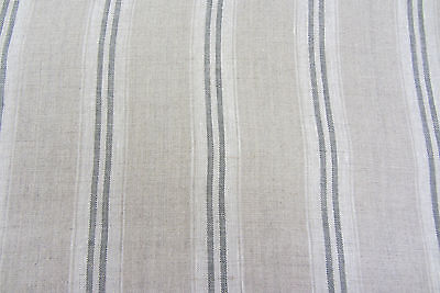French Vintage Linen Stripe Charcoal Grey Curtain/Craft / upholstery Fabric