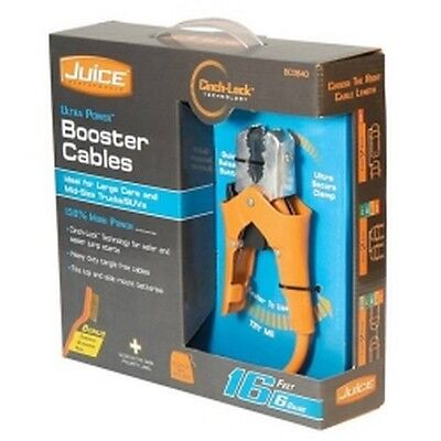United Marketing BC0840 6 Gauge 16ft Juice Booster Cables with Cinch-Lock