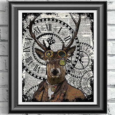 Stag Steampunk Deer Art Print On Original Book Page Dandy Vintage dictionary