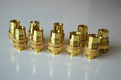 10 Brass Small Bayonet B15 Fitting Bulb Holder Lamp C/W Shade Ring 10Mm L5