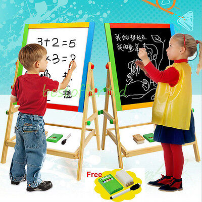 Double Sides Children Kids 2 In 1 Black / White Wooden Easel Chalk Drawing Board