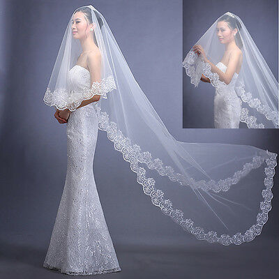 2016  New 1.5/2/3M Long Flower Lace Bridal  Beige Cathedral Church Wedding Veils