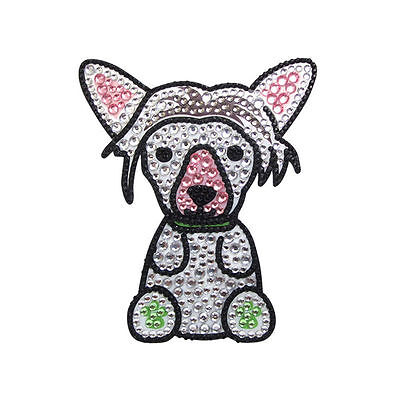 Chinese Crested Dog Rhinestone Glitter Jewel Phone Sticker Decal