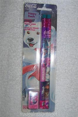 MIP LE COCA-COLA PINK & PURPLE KID'S PRIMARY PENCILS w/SHARPENER - POLAR BEAR