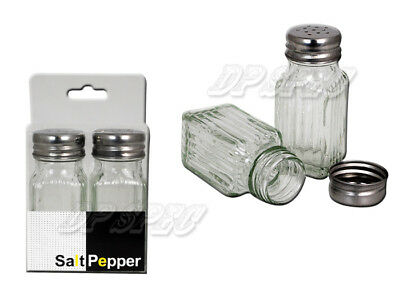 "Set Of 2 Clear Glass 3.5"" Tall Salt & Pepper Shaker Brand New Free Shipping"