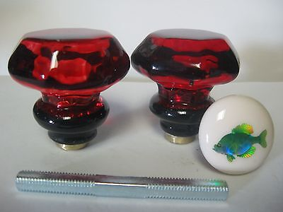 Antique Door Knobs -  -Ruby Red-  Tested And Proven 20 Year Top Coat