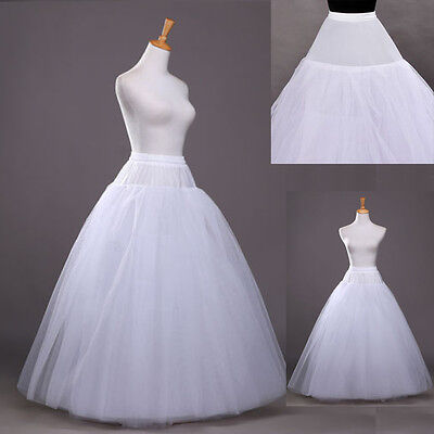 A-Line White No-Hoop Long Petticoat/Underskirt/Slip Crinoline Prom/Wedding New