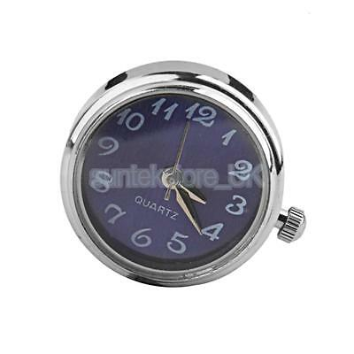 1pc Round Charm Watch Face Silver Blue Tone Dial Snap Button DIY Jewelry