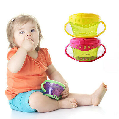 2pcs baby/child cookie food container catcher non spill snack cup holder