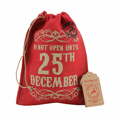 Christmas Gift Bag Small 'Do Not Open Until 25th December' Red Hessian Xmas