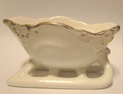 Vintage Porcelain China Christmas Sleigh White w/ Gold Trim Holiday Winter