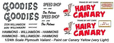 Don Williamson Hairy Canary Plymouth 1/25th - 1/24th Scale Decals NHRA Drag