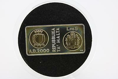 2000 Millennium Malta Silver Proof Lm5 Rectangle Shape Fine Gold Plated