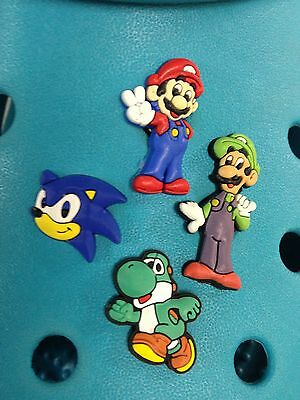 4 Mario, Luigi, Sonic & Yoshi Shoe Charms For Crocs & Jibbitz Wristbands.