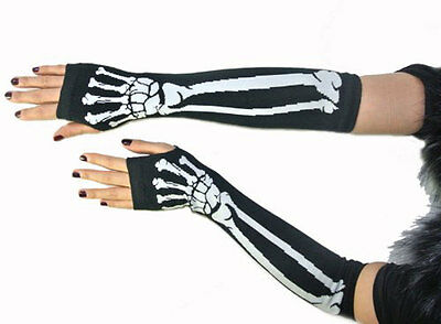 Lady Punk Rock Skull Print Elbow Length Fingerless Gloves Arm Warmmer  Cosplay